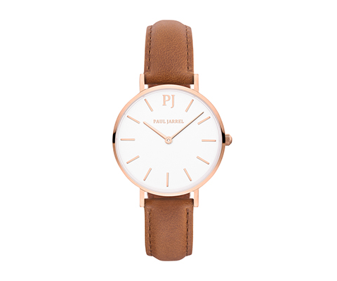 Montre Paul Jarrel beige en cuir